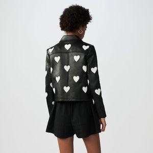 1e9081fc2 NWT Maje cropped leather jacket w/ hearts- Paris NWT